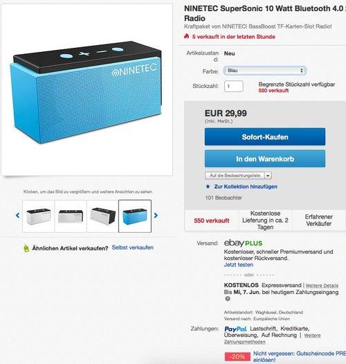 NINETEC SuperSonic 10 Watt Bluetooth 4.0 Speaker mit FM-Radio - jetzt 20% billiger