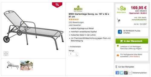 MWH Gartenliege Savoy - jetzt 15% billiger