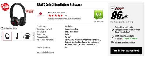 BEATS Solo 2 Kopfhörer Schwarz - jetzt 31% billiger