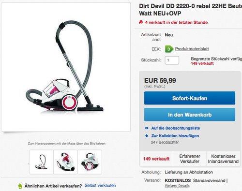 Dirt Devil DD 2220-0 rebel 22HE Singlecyclone Staubsauger ohne Beutel - jetzt 20% billiger