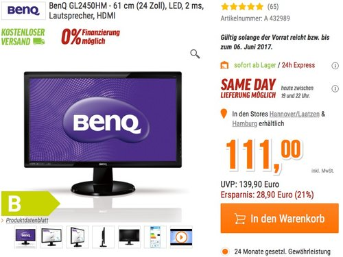 BenQ GL2450HM 61 cm (24 Zoll) Monitor - jetzt 21% billiger