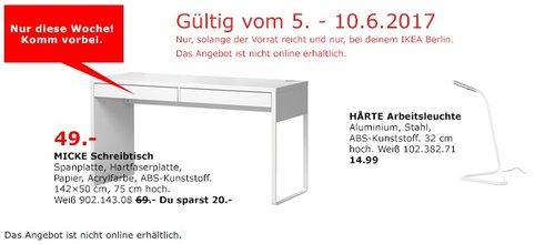 IKEA MICKE Schreibtisch, 142x50 cm, 75 cm hoch, weiß - jetzt 29% billiger