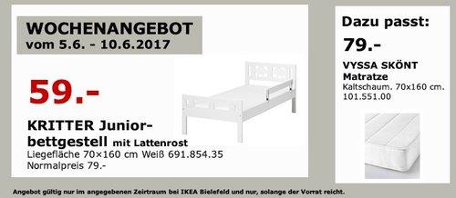 IKEA KRITTER Juniorbettgestell mit Lattenrost, 70x160 cm, weiß - jetzt 25% billiger