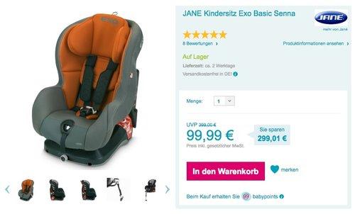 JANE Kindersitz Exo Basic Senna - jetzt 68% billiger