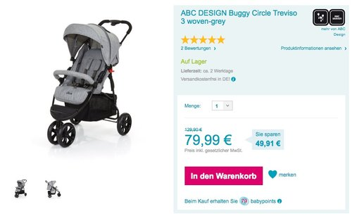 ABC DESIGN Buggy Circle Treviso 3 woven-grey - jetzt 20% billiger
