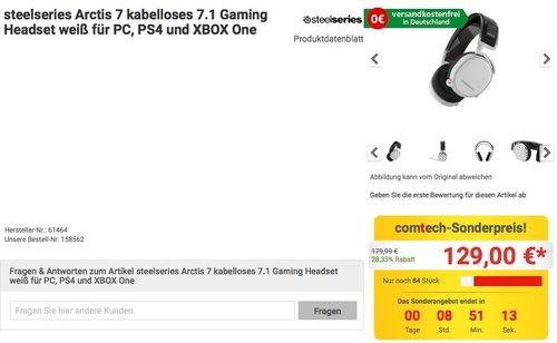 SteelSeries Arctis 7 Gaming Headset Drahtlos, DTS 7.1 - jetzt 28% billiger