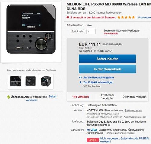 MEDION LIFE MD 86988 Internetradio mit Wlan (Empfang von 13.000 Internet-Radiosendern, Farbdisplay, UKW-Empfänger, DLNA kompatibel), schwarz - jetzt 20% billiger