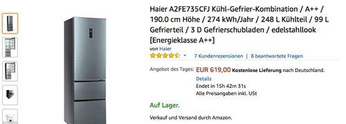 Haier A2FE735CFJ Kühl-Gefrier-Kombination - jetzt 7% billiger