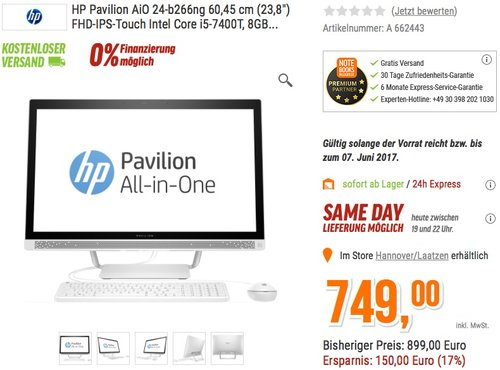 HP Pavilion (24-b266ng) 60,45 cm (23,8 Zoll / Full HD-IPS Touchscreen) All-in-One Desktop PC - jetzt 10% billiger