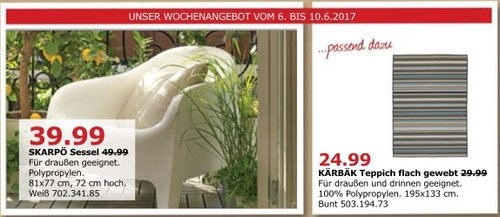 IKEA SKARPÖ Sessel, für draußen geeignet, 81x77 cm, 72 cm hoch, weiß - jetzt 20% billiger