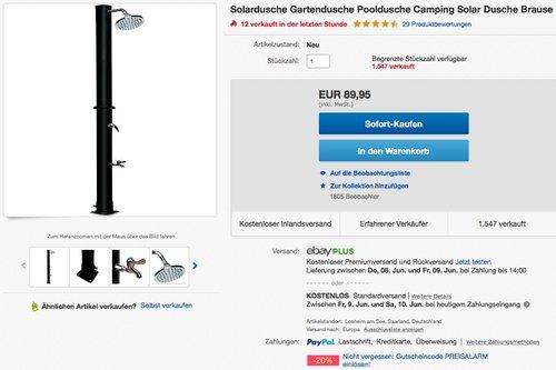 Solardusche Gartendusche Pooldusche Campingdusche - jetzt 20% billiger