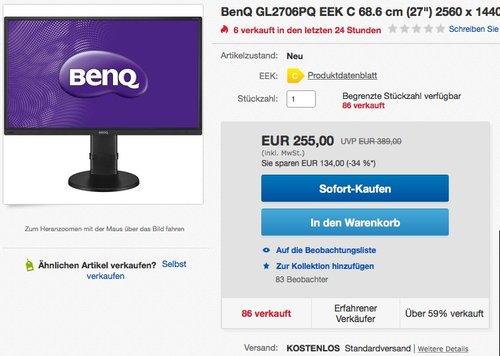 BenQ GL2706PQ 68,58 cm (27 Zoll) WQHD Monitor - jetzt 22% billiger