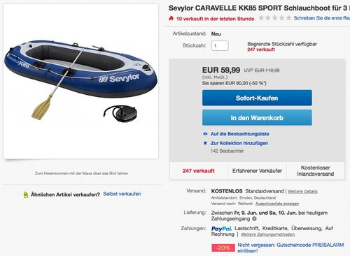 Sevylor CARAVELLE KK85 SPORT Schlauchboot - jetzt 20% billiger