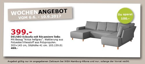 IKEA DELSBO Ecksofa mit Repariere links, 303x143 cm, Sitzhöhe 42 cm, Knies hellgrau - jetzt 20% billiger