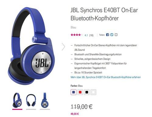 JBL Synchros E40BT On-Ear Bluetooth-Kopfhörer - jetzt 30% billiger