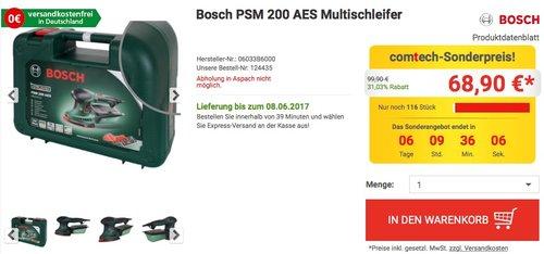 Bosch DIY Multischleifer PSM 200 AES, 2 Schleifpapiere K 80, Rechteckige Schleifplatte, Koffer - jetzt 12% billiger