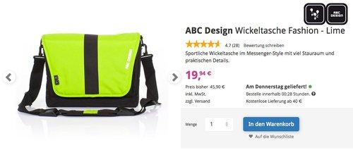 ABC Design Wickeltasche Fashion - Lime - jetzt 43% billiger