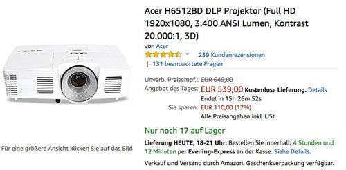 Acer H6512BD DLP Projektor (Full HD 1920x1080, 3.400 ANSI Lumen, Kontrast 20.000:1, 3D) - jetzt 18% billiger
