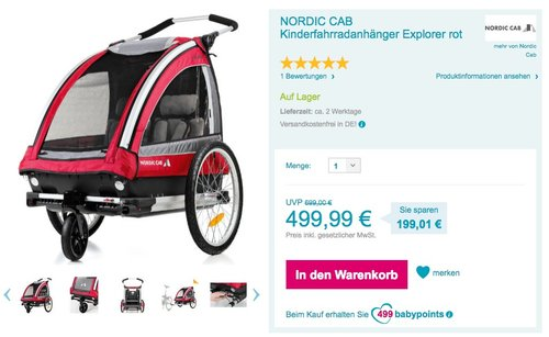 NORDIC CAB - Kinderanhänger Explorer 2-1 inkl. Walking Set, rot - jetzt 5% billiger