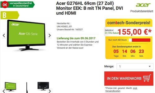 Acer G276HL 69cm (27 Zoll) Monitor - jetzt 13% billiger