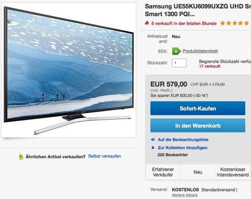 Samsung UE55KU6099 55 Zoll LCD-Fernseher - jetzt 6% billiger