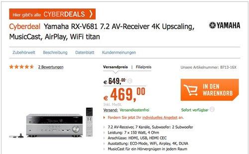 Yamaha RX-V681TI Music Cast AV Receiver - jetzt 11% billiger