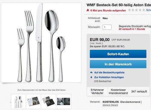 WMF Besteck-Set 60-teilig für 12 Personen Aston Cromargan Edelstahl - jetzt 49% billiger