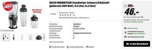BOSCH MMBM7G3M Standmixer - jetzt 46% billiger