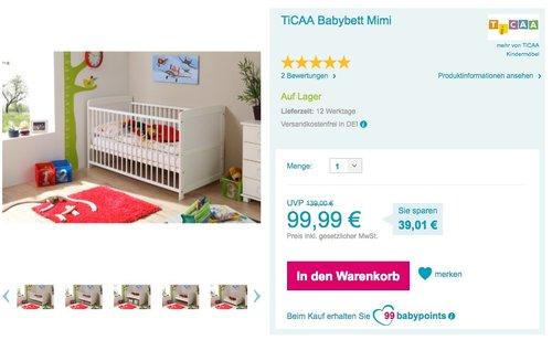 TiCAA Babybett Mimi, weiß - jetzt 22% billiger