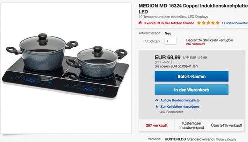 MEDION (MD 15324) Doppel-Induktionskochplatte - jetzt 22% billiger