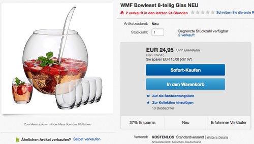 WMF Bowleset 8-teilig Glas - jetzt 26% billiger