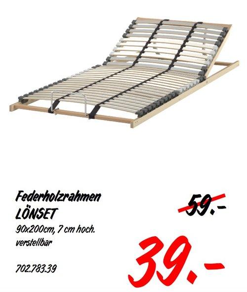 IKEA LÖNSET Federholzrahmen, verstellbar, 90x200cm, 7 cm hoch - jetzt 34% billiger