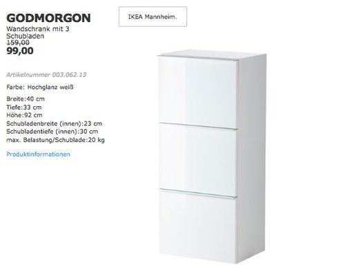 GODMORGON Wandschrank mit 3 Schubladen, 40x30 cm, 92 cm hoch, Hochglanz weiß - jetzt 38% billiger