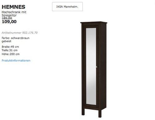 IKEA HEMNES Hochschrank mit Spiegeltür, 49x31 cm, 200 cm hoch, schwarzbraun gebeizt - jetzt 42% billiger