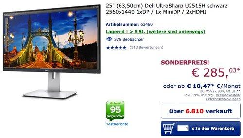 Dell U2515H Monitor 25 Zoll - jetzt 7% billiger