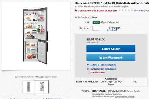 Bauknecht KGSF 18 A3+ IN Kühl-Gefrier-Kombination - jetzt 25% billiger