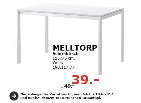 IKEA MELLTORP Schreibtisch, 125x75 cm, weiß - jetzt 20% billiger