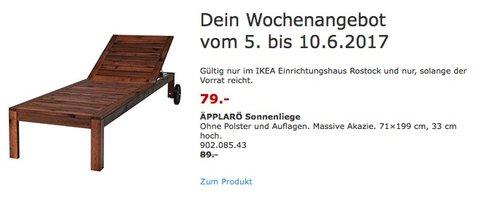 IKEA ÄPPLARÖ Sonnenliege Ohne Polster und Auflagen. Massive Akazie. 71×199 cm, 33 cm hoch. - jetzt 11% billiger