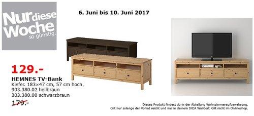 IKEA HEMNES TV-Bank, 183x47 cm, 57 cm hoch, Kiefer, hellbraun oder schwarzbraun - jetzt 28% billiger