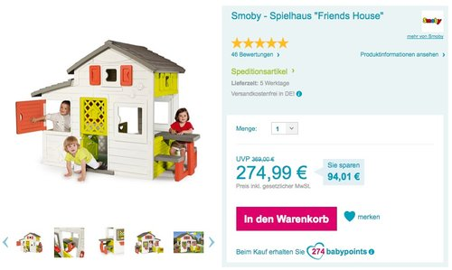 "Smoby - Spielhaus ""Friends House"" - jetzt 8% billiger"