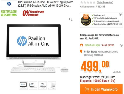 HP Pavilion (24-b261ng) 60,45 cm (23,8 Zoll / Full HD-IPS) All-in-One Desktop PC - jetzt 11% billiger