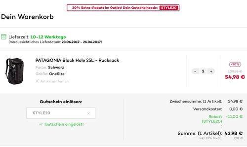 PATAGONIA Black Hole 25L - Rucksack - Schwarz - jetzt 46% billiger