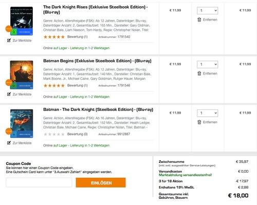 3 FÜR 18 € BLU-RAY AKTION. Bsp.: The Dark Knight Rises (Exklusive Steelbook Edition), Batman Begins (Exklusive Steelbook Edition) und Batman - The Dark Knight (Steelbook Edition) - jetzt 50% billiger
