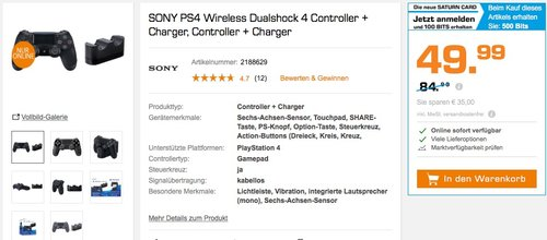 SONY PS4 Wireless DualShock 4 Controller + PlayStation DualShock 4 Ladestation - jetzt 41% billiger