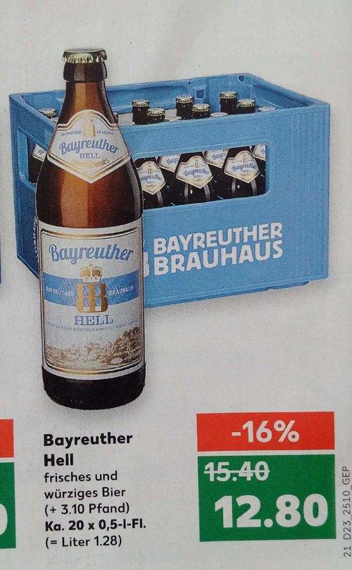 Bier Bayreuther Hell, Ka. 20 x 0,5-L-Fl. - jetzt 17% billiger