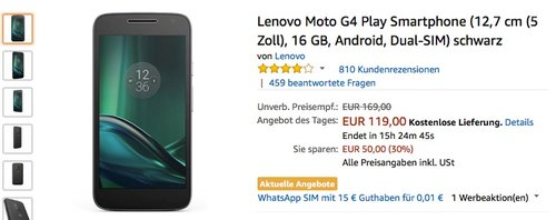 Lenovo Moto G4 Play Smartphone, schwarz - jetzt 14% billiger