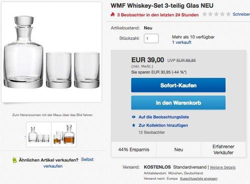 WMF Whiskeyglas Tumbler 0,25ml Whiskeykaraffe 0,75ml Kristallglas Whiskey-Set 3er Set - jetzt 20% billiger