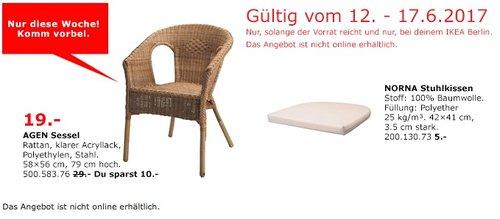 IKEA AGEN Sessel, Rattan, 58x56 cm, 79 cm hoch - jetzt 34% billiger