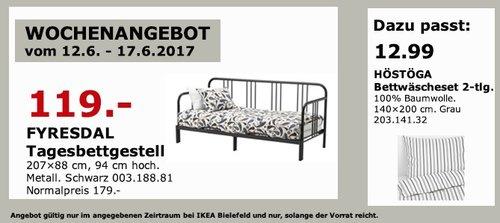 IKEA FYRESDAL Tagesbettgestell, 207x88 cm, 94 cm hoch. Metall. Schwarz - jetzt 34% billiger