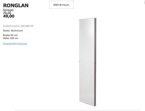 IKEA RONGLAN Spiegel 40x160 cm, Aluminium - jetzt 38% billiger